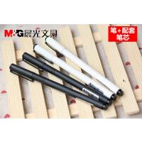 晨光全0.5mm纯色黑白狂潮铁杆磨砂商务签字笔金属中性笔 AGPA1601