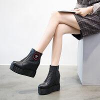 女靴子女牛皮马丁靴坡跟短筒靴2019春秋季新款侧拉链内增高女鞋 黑色单靴