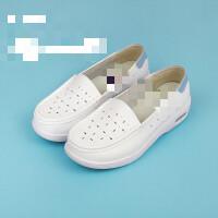 气垫护士鞋夏季女2019新款白色平底坡跟舒适软底韩版医院透气 (镂空款) 36 标准尺码