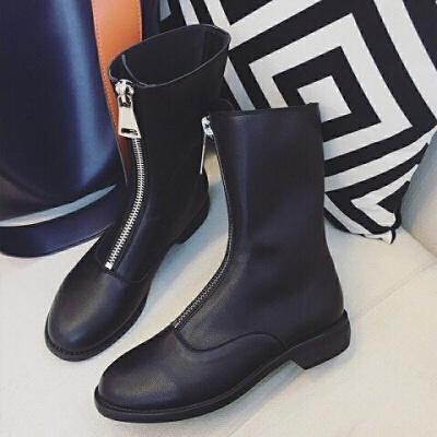 2019新款前拉链guid短靴子学生韩版中筒靴女加绒保暖女士短靴粗跟