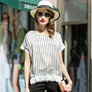 2017夏新款 丝绸 真丝 圆领蚕丝女装 短袖 t恤上衣 女衬衫宽松