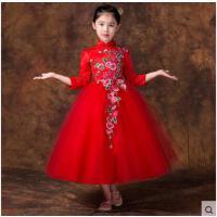 复古时尚大气盘扣表演旗袍长款儿童旗袍裙气质花纹精致新款女童唐装长袖演出服