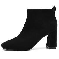 粗跟短靴女高跟2018新款春季韩版百搭秋靴黑色及踝靴单靴磨砂裸靴
