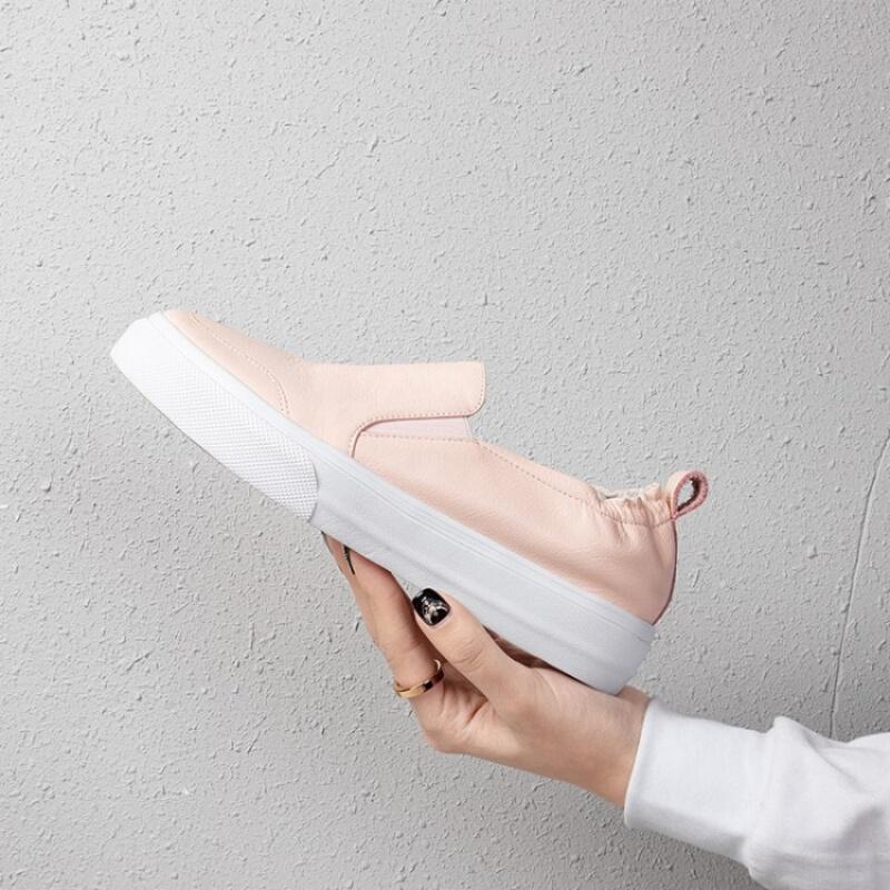 野图品牌女鞋2019春季里外全皮真皮小白鞋休闲平底板鞋乐福鞋一脚蹬百搭休闲鞋
