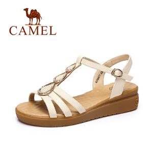 Camel/骆驼女鞋 春夏新品时尚皮带扣女鞋舒适坡跟水钻凉鞋