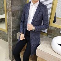 秋装新款男士潮流单排扣毛呢大衣韩版修身青年流行西装领呢外套