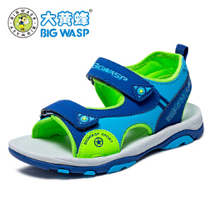 【618大促-每满100减50】大黄蜂男童鞋 2017新款夏季儿童凉鞋 男孩沙滩鞋 中大童鞋子 韩版