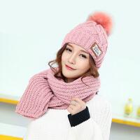冬季帽子女韩版潮时尚休闲百搭字母针织帽子加厚围巾套装