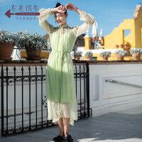 生活在左春夏季女装新款真丝蚕桑丝连衣裙中长款两件套裙子配腰带
