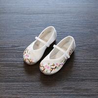 老北京儿童布鞋绣花鞋表演出鞋民族风舞蹈鞋公主鞋春秋女童单鞋潮 白色 029 25码/14.7cm