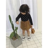 女童t恤1-5岁女宝宝波点木耳边打底衫婴儿长袖上衣