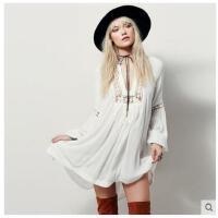 欧美皱雪纺沙滩裙性感比基尼罩衫宽松大码外套女