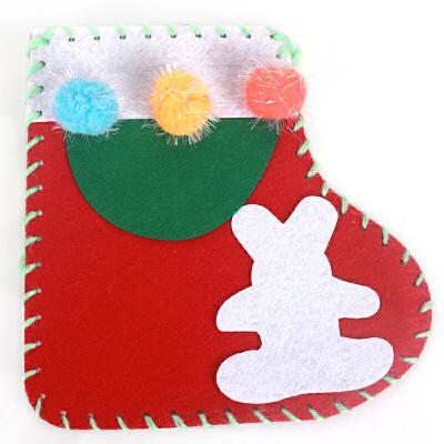 手工diy圣诞袜子装饰品圣诞节袜子幼儿园手工制作橱窗装饰袜子_圣诞袜