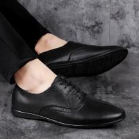 皮鞋男夏季新品新款尖头休闲皮鞋低帮平底驾车鞋英伦风中青年男士潮鞋绅士