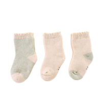 彩棉秋冬季棉袜新生婴儿0-3岁袜子宝宝松口保暖袜3双