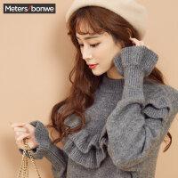 美特斯邦威毛衣裙女冬季新款荷叶边半高领中长款针织衫学生