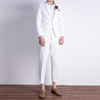 白色小西装套装男修身韩版男士西服发型师青年正装新郎结婚礼服 白色