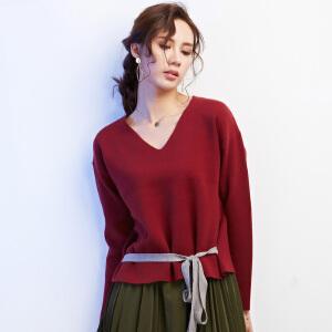 秋冬新款系腰带上衣v领毛衣女套头 短款宽松简约纯色针织衫