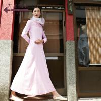 生活在左2018秋季新款气质chic纯棉拼真丝连衣裙中长款a字裙子女