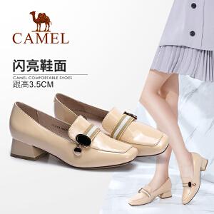 Camel/骆驼女鞋 2018春季新款 时尚复古金属饰扣方头方跟套脚浅口单鞋女