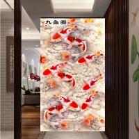 钻石画客厅竖版走廊装饰画简约九鱼图十字绣九鱼聚福图点钻画新款