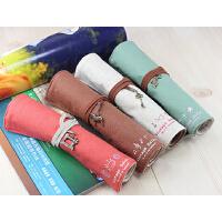 韩国可爱文具 韩国大容量 帆布卷笔袋 笔帘 创意简约文具袋 创意卷笔袋 桌面收纳袋