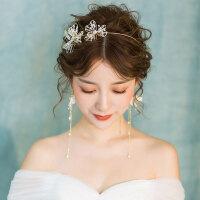 新娘头饰仙美森系发箍耳饰套装结婚发饰婚纱礼服