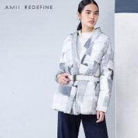 【AMII大牌日 2件4折】JII AMII冬新款女装文艺大码加厚修身白鸭绒腰带印花羽绒服
