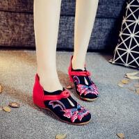绣花鞋老北京布鞋低跟春秋民族风牛筋底广场舞蹈鞋妈妈鞋女单鞋