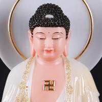 玻璃钢彩绘西方三圣佛像 西方三圣汉白玉阿弥陀佛观音菩萨大势至菩萨佛像供奉摆件站立背光