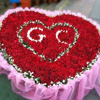 鲜花速递999玫瑰朵红花束365朵520朵同城表白求婚杭州上海送花店