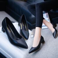 大东同款秋季单鞋女一脚蹬懒人工作OL通勤鞋子浅口尖头低帮鞋中跟