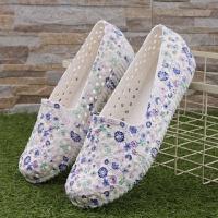 夏季小碎花凉鞋女夏塑料平底透气镂空孕妇妈妈工作鞋防水洞洞凉鞋