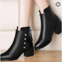 古奇天伦短靴女 新款潮百搭韩版粗跟靴子高跟鞋加绒马丁靴8508