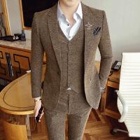 西服套装男修身英伦秋新款青年婚礼西装新郎三件套韩版单排扣潮流