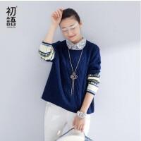 【定金预售】初语 春季新品  撞色图纹麻花纹假两件毛衣女8640423801