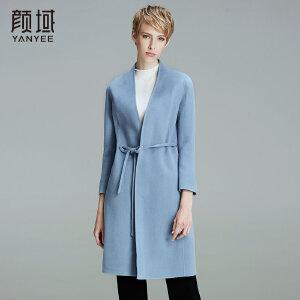 颜域品牌女装2017冬装新款纯色立领修身系带中长款双面呢大衣外套