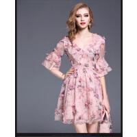 时尚花色雪纺连衣裙女新款显瘦V领喇叭袖中长款裙 潮  可礼品卡支付