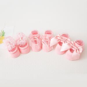 Yinbeler三双装婴儿鞋袜蝴蝶结防滑胶点全棉0-1岁婴儿袜礼盒