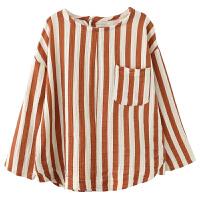 纯棉衬衫秋季儿童宝宝竖条纹休闲衬衣拼接