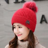 兔毛帽子女秋冬韩版潮百搭时尚可爱针织毛线帽加绒加厚青年保暖帽
