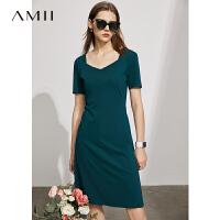 Amii极简设计感小众连衣裙2021夏新款钻石领短袖修身裙子女A字裙