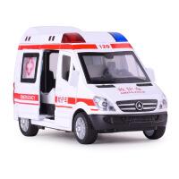 特警车合金车仿真救护车模型声光回力儿童益智玩具车