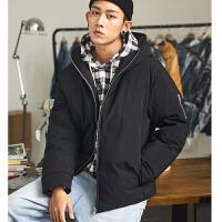 [2.5折价279元]唐狮年短款羽绒服男冬季新款纯色加厚宽松连帽韩版青年外套