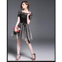 女装时尚蕾丝网纱拼接花色A字裙新品小清新显瘦短袖连衣裙  可礼品卡支付