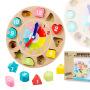 数字积木钟儿童益智玩具 木制形状认知配对动物时钟可立