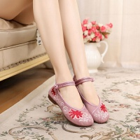 夏季新款女鞋古风汉服布鞋民族风平地舒适绣花鞋广场舞蹈表演单鞋