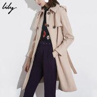 【开学季到手价:629元】 Lily春秋新款女装帅气系带修身中长款米色羊毛大衣118400F1602