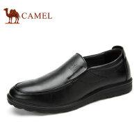 camel 骆驼男鞋 牛皮休闲皮鞋男套脚圆头耐磨商务休闲皮鞋