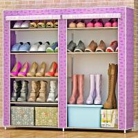 林仕屋简易鞋柜鞋架 组装多层铁艺收纳防尘布鞋柜现代简约0503C